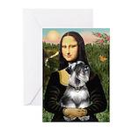Mona Lisa's Schnauzer (#6) Greeting Cards (Pk of 1