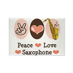 Peace Love Saxophone Sax Rectangle Magnet (100 pac