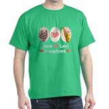 Peace Love Saxophone Sax T-Shirt