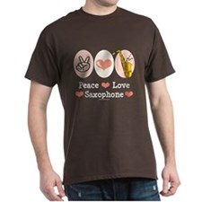 Peace Love Saxophone Sax Player T Shirt
