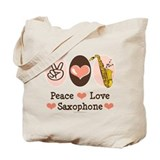 Peace Love Saxophone Saxophonist Music Tote Bag