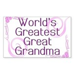 World's Greatest Great Grandma Sticker (Rectangle