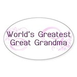 World's Greatest Great Grandma Sticker (Oval 10 pk