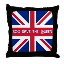 God Save the Queen Union Jack Throw Pillow