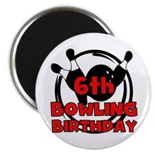 6th Bowling Birthday Magnet