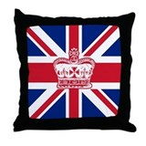 Union Jack with Crown Throw Pillow