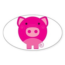 Pink Pig Oval Decal