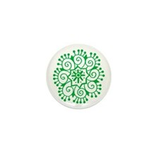 Henna Tattoo in Green - Mini Button