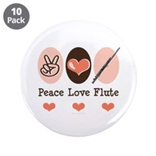 "Peace Love Flute 3.5"" Button (10 pack)"