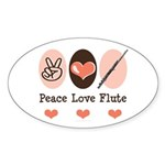 Peace Love Flute Oval Sticker (10 pk)