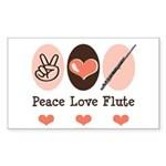 Peace Love Flute Rectangle Sticker 10 pk)