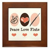Peace Love Flute Framed Tile