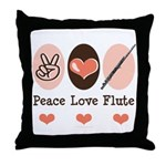 Peace Love Flute Throw Pillow