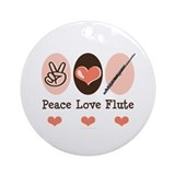 Peace Love Flute Ornament (Round)