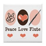 Peace Love Flute Tile Coaster