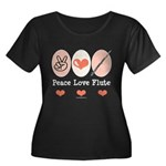 Peace Love Flute Women's Plus Size Scoop Neck Dark