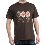 Peace Love Flute Dark T-Shirt
