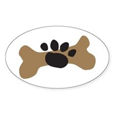 Dog Bone & Paw Print Oval Decal
