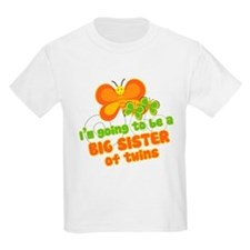 Butterfly Big Sister Twins T-Shirt