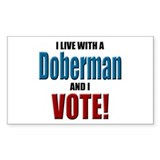 Doberman Vote Rectangle Decal