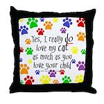 Love cat, child Throw Pillow
