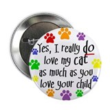 "Love cat, child 2.25"" Button (100 pack)"
