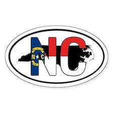NC North Carolina FLAG Oval Decal