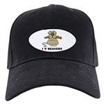 I Love Beavers Black Cap