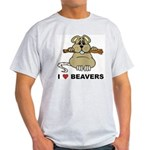 I Love Beavers Ash Grey T-Shirt