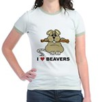 I Love Beavers Jr. Ringer T-Shirt
