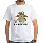 I Love Beavers White T-Shirt