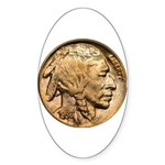 Nickel Indian Head Oval Sticker (50 pk)