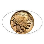 Nickel Indian Head Oval Sticker
