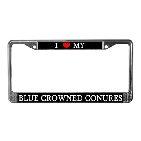 Love Blue Crowned Conures License Plate Frame