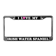 I Love My Irish Water Spaniel License Plate Frame