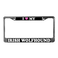 I Heart My Irish Wolfhound License Plate Frame