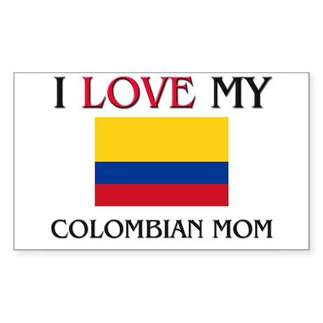 I Love My Colombian Mom Rectangle Sticker