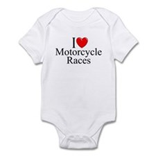 """I Love (Heart) Motorcycle Races"" Infant Bodysuit"