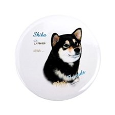 "Black Shiba Best Friend 1 3.5"" Button"