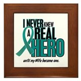 Never Knew A Hero 2 Teal (Wife) Framed Tile
