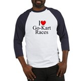 """I Love (Heart) Go-Kart Races"" Baseball Jersey"