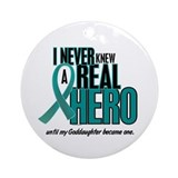 Never Knew A Hero 2 Teal (Goddaughter) Ornament (R