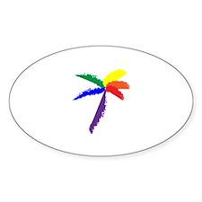 Rainbow Palmtree Oval Bumper Stickers