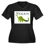 VEGAN Women's Plus Size V-Neck Dark T-Shirt