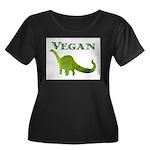 VEGAN Women's Plus Size Scoop Neck Dark T-Shirt