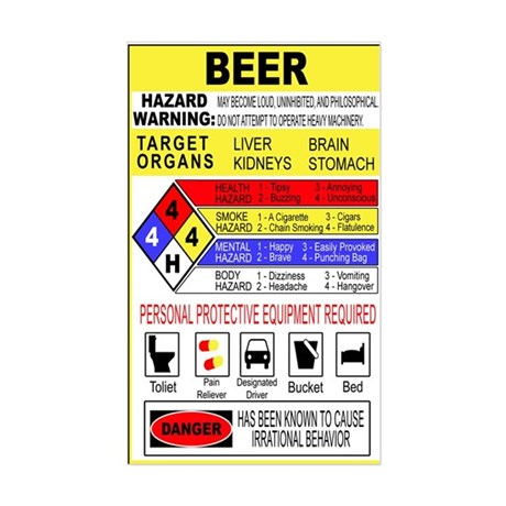 Warning Beer Hazardour Materi Rectangle Sticker