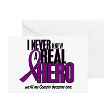 Never Knew A Hero 2 Purple (Cousin) Greeting Cards