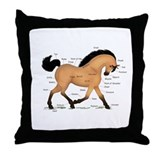 Buckskin Dun Horse Anatomy Chart Throw Pillow