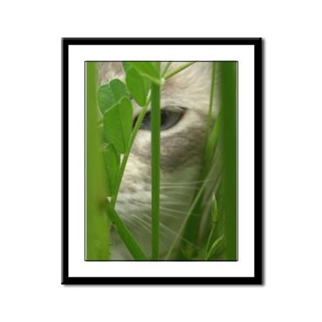 Cat in Grass Framed Panel Print