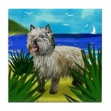 CAIRN TERRIER DOG BEACH Tile Coaster